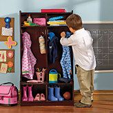 """With two lockers, four hooks, and four shelves, it prompts kids to be organized and saves precious morning time. With a built-in bench that's perfect for putting on shoes. This wood coat stand is great for foyers and mudrooms, and at 15½""""L x 24½""""W x 45½""""H, it makes the most of smaller spaces."""