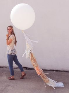 36 Inch Round Balloon with Ultra Long Tassels by CarouselLane, $49.00