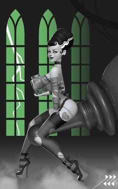 Bride of Frankenstein Pin-up, Lucas Lanier Halloween Horror, Halloween Art, Halloween 2016, Queen Anime, Pin Up Pictures, Horror Themes, Horror Monsters, Frankenstein's Monster, Bride Of Frankenstein