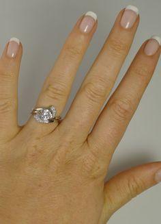 White Sapphire Engagement Ring Twist Set Sterling by greengem, $375.00