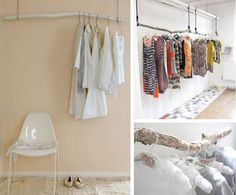 DIY Hanging Clothes Rack, made with branches for an open closet Hanging Clothes Racks, Diy Clothes Rack, Diy Home Decor, Room Decor, Diy Hanging, My New Room, Apartment Living, Apartment Ideas, Home Projects