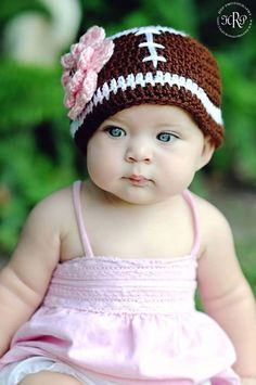 Baby Toddler Girl BROWN WHITE Football Beanie Hat w/PINK Daisy -- Newborn to 10yrs -- Photo Prop,Team Colors