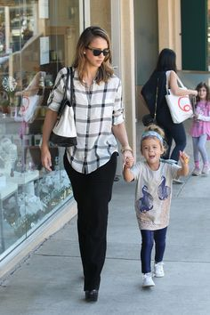 Jessica Alba wearing our Love Story while out with her daughter, Honor.