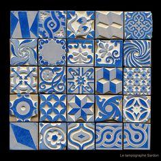 Pour décorer ce que vous voulez, une reproduction sur des tampons de divers motifs de carreaux-ciment. / Chez Le Tampographe.