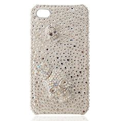 Austria Crystal Rhinestone Iphone4/4S Cases-Double Shining Skeleton Head