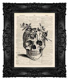 SKULL Art Print Skull Painting Skull door MadameBricolagePrint