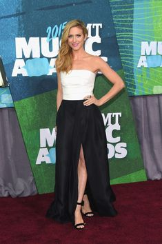 Brittany Snow Brittany opted for a black and white Monique Lhuillier dress