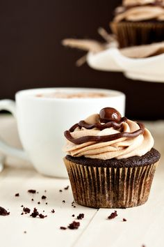 Cafe-Mocha-Cupcakes - If you love chocolate and are a coffee lover, you will love these!