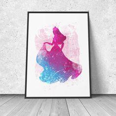 Aurora, Sleeping Beauty, watercolor illustration, giclee art print, Disney inspired, silhouette, nursery decor