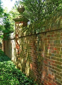 brick garden wall- very English! Do this only on the neighbor side of our fence. our brick color and not the finials but have a cool gate too Brick Wall Gardens, Brick Garden, Brick Fence, Garden Gates, Landscape Design, Garden Design, The Secret Garden, The Neighbor, Grades