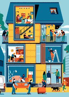 Perl. social housing illustration on Behance Illustration Sketches, Graphic Illustration, Black And White Comics, Social Housing, Vintage Images, Art Inspo, Behance, Illustrator, Kawaii