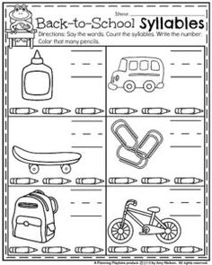 Back to School Kindergarten Worksheets - Counting Syllables