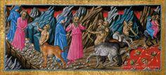 Inferno, canto XII. Il fiume di sangue Flegetonte. La Divina Commedia di Alfonso d'Aragona' (XV secolo), British Library, Londra