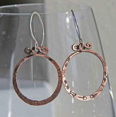 Copper and Sterling Hieroglyph Hoops by AlaskaFirefly on Etsy