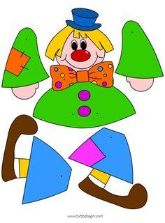 Une panoplie de dessins en couleur et N& B, des modèles de masques...!!! Clown Crafts, K Crafts, Preschool Crafts, Paper Crafts, Paper Puppets, Paper Toys, Crafts For 2 Year Olds, Crafts For Kids, Paper Doll House
