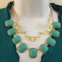 Brand new green and gold tone statement necklace. firm unless bundled. Please no trades, modeling or other forms of payment. Thank you for understanding.  Jewelry Necklaces