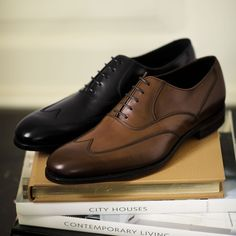 Brown contemporary calf Oxford wing cap shoes | Mens business shoes from Charles Tyrwhitt, Jermyn Street, London
