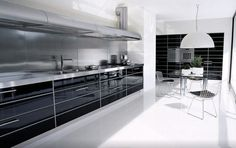 Kitchen:Beautiful Kitchen Design Idea Awesome Kitchen Design Modern Black And White That Has White Modern Ceramics Floor Can Be Decor With White Hang Lamp Can Add The Beauty Inside The Room