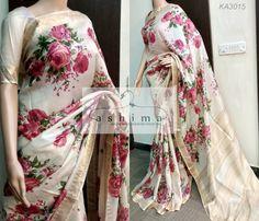 Code:KA3015 - Price INR:8200/- , Printed Tussar Saree With Woven Border And Pallu.