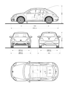 Las medidas de Beetle son impresionantes y ¡envidiables! Cute Small Cars, Car Top View, Volkswagen Group, Game Character Design, Car Drawings, Technical Drawing, Luxury Cars, Concept Art, Classic Cars