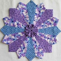 6 Dresden Plate Patchwork Quilt Blocks 10 inches with Yo Yo Centers