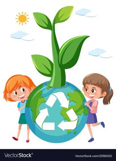 Girl holding recycle globe vector image on VectorStock School Board Decoration, Class Decoration, Art Drawings For Kids, Drawing For Kids, Clown Crafts, Save Environment, Globe Vector, Earth Day Crafts, School Painting