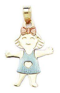 14k Yellow White and Rose Gold Small Girl Pendant - Measures 27x16mm - 27 Inch - JewelryWeb JewelryWeb. $122.50