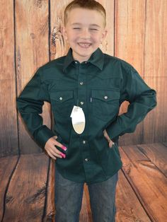 more sizes available $14.99! ROPER Boys SHIRT Western GREEN TWILL SNAP FRONT Cowboy  NWT Youth XS 4/5 #ROPER