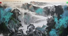 Rivulet Surround Rolling Hills Landscape Chinese Ink Brush Painting, Splashing color of landscape paintings 96cm X 179cm Chinese wall scroll painting Artist original works handwriting Rice paper Traditional art painting. USD $ 460.00