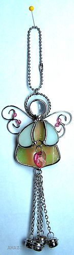 Stained Glass Angel Ornament October Birthstone Birthday Christmas