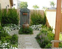 traditionelle Garten Gestaltung Brunnen
