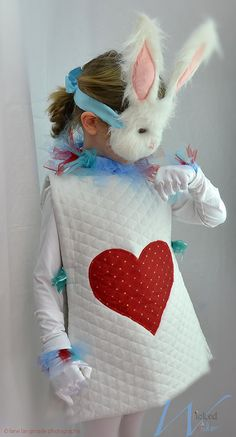 White Rabbit Halloween costume from Alice & Wonderland for Children by Wicked & Wonder. Includes White gloved wrist cuffs and royal ruff!