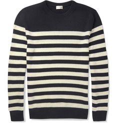 Saint Laurent, Striped Cashmere Sweater (Navy)
