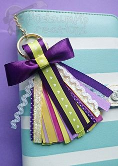 Your place to buy and sell all things handmade Diy Keyring, Tassel Keychain, Glitter Ribbon, Purple Glitter, Kawaii Accessories, Purple Accessories, Flower Festival, Yarn Wall Hanging, Tassel Jewelry