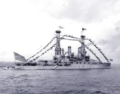 USS Michigan BB 27.  Fully dressed with flags and with her crew manning the rails, during the naval review off New York City, 3 October 1911.