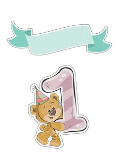 Fonte das Imagens de Ursinho: Freepik First Birthday Photos, Baby Birthday, Happy Birthday Template, Funny Baby Memes, Baby Month Stickers, Baby Posters, Baby Painting, Bear Party, Baby Prints