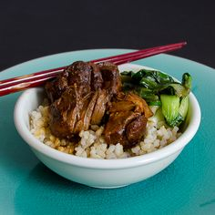 Slow Cooker Coca-Cola Braised Pork - guess the brown rice makes it healthier?!!! looks yummy