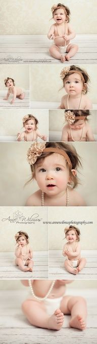 6 month old baby photo ideas...beautiful baby, a set of pearls and a cute headband for little girl and handsome baby and a cute tie for a boy= a simply perfect shoot!