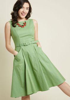 Vintage Fashion Collectif x MC Astute to Boot A-Line Dress, Simple Dresses, Cute Dresses, Vintage Dresses, Casual Dresses, Fashion Dresses, Green Dress Casual, 1950s Dresses, 1950s Fashion, Vintage Fashion