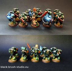 Warhammer 40k Space Marine Tactical Squad; Dark Angels with some awesome source lighting! By black-brush-studio.eu.