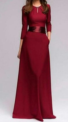 Simple elwgant A Line 3/4 sleeves wine dress