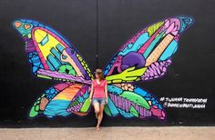 How To Bring A Traveler's Mindset To Everything You Do Murals Street Art, Graffiti Wall Art, Mural Wall Art, Street Art Graffiti, Angel Wings Art, School Murals, Butterfly Art, Butterfly Colors, Best Street Art
