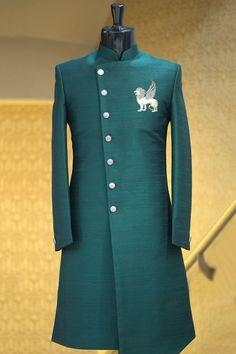 Buy Dark Green Zardosi Embroidered Raw Silk Indowestern Sherwani Online