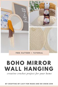 New on Make & Do Crew: Whip up this free crochet pattern using a circular mirror and cotton yarn. Easy, DIY bohemian wall art idea using beginner crochet skills. Get the free pattern + tutorial using Lion Brand 24/7 Cotton yarn. Crochet Home Decor, Diy Crochet, Beginner Crochet, Crochet Pillow Pattern, Crochet Basket Pattern, Modern Crochet Patterns, Crochet Designs, Make And Do Crew, Crochet Wall Hangings