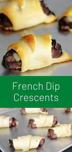 French Dip Crescents - Dinner, lunch, or a great appetizer for Football season. This French Dip Crescents & Simple Au Jus Recipe is a winner every time! Crab Cakes, Easy Au Jus Recipe, Crescent Roll Recipes, Crescent Rolls, French Dip Crescents, Rice Krispies, Lunch Recipes, Cooking Recipes, Taco Dinner