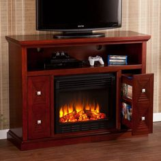 Southern Enterprises Creston Cherry Electric Fireplace Media Console - HN4973-4