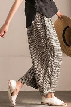 Lovely Black White Grid Wide-legged Pants Linen Ca., Lovely Black White Grid Wide-legged Pants Linen Ca. Mode Adidas, Linen Dresses, Maxi Dresses, Summer Dresses, Mode Outfits, Wide Leg Pants, Wide Legs, What To Wear, Ideias Fashion
