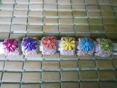 Polymer Clay  Antique Look  Set of 4 Flower by ClayDesignedByLori