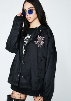 Rebel8 Dead Eyes Jacket cuz you feel nothing. This black lightweight jacket has a black N' white graphic with text on the back and a button up front closure.