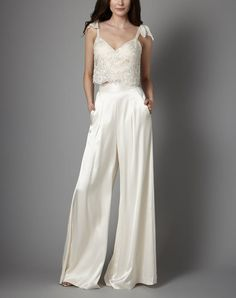 from Catherine Deane bridal separates Wedding Trouser Suits, Wedding Pantsuit, Wedding Suits, Wedding Attire, Wedding Dresses, Tomboy Wedding Dress, Pant Suits, Wedding Robe, Edgy Wedding